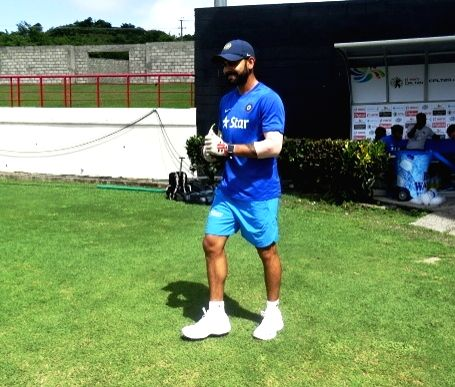 St Lucia: Indian Test captain Virat Kohli during a practice session at Darren Sammy Stadium in St Lucia on Aug 7, 2016. - Virat Kohli