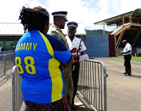 St Lucia: Supporters of West Indies player Darren Sammy stage a demonstration outside the Darren Sammy Stadium in St Lucia on Aug 9, 2016.
