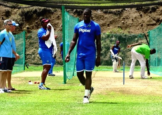 St Lucia: West Indies cricketer Carlos Brathwaite during a practice session at Darren Sammy Stadium in St Lucia on Aug 7, 2016.