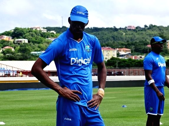 St Lucia: West Indies cricketer Roston Chase during a practice session at Darren Sammy Stadium in St Lucia on Aug 7, 2016.