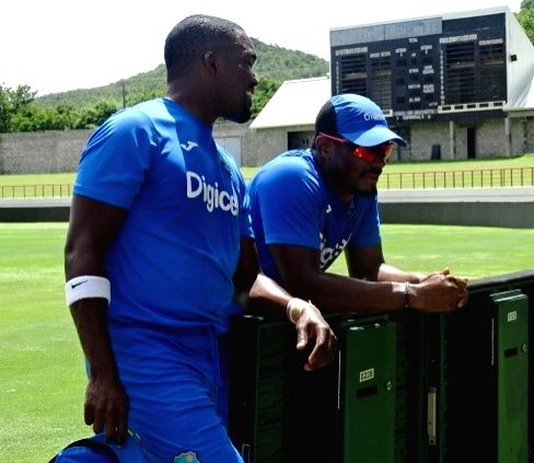 St Lucia: West Indies cricketers during a practice session at Darren Sammy Stadium in St Lucia on Aug 7, 2016.