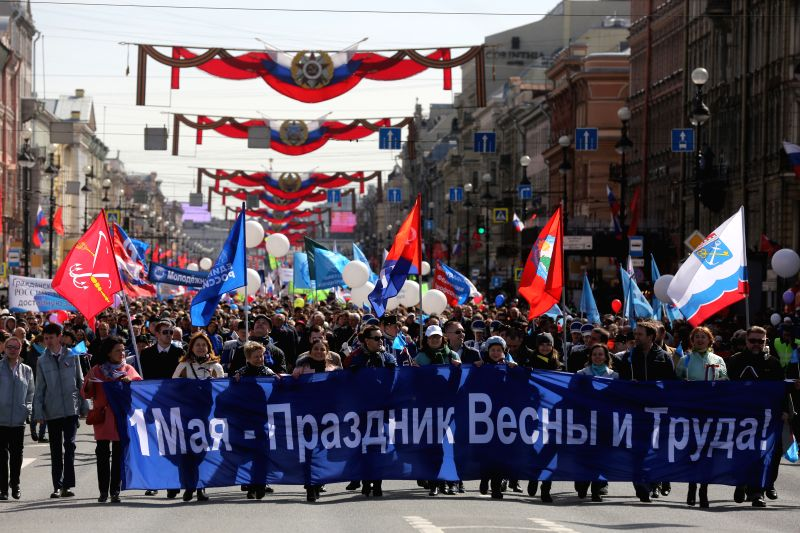ST.People participate in the International Workers' Day march in St. Petersburg, Russia on May 1, 2017. About a hundred thousand of people took part in the march ...