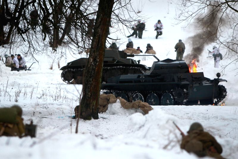 ST.Reenactors dressed as World War II (WWII) Soviet Red Army troops take part in a battle reconstruction marking the 72nd anniversary of the breakthrough of ...