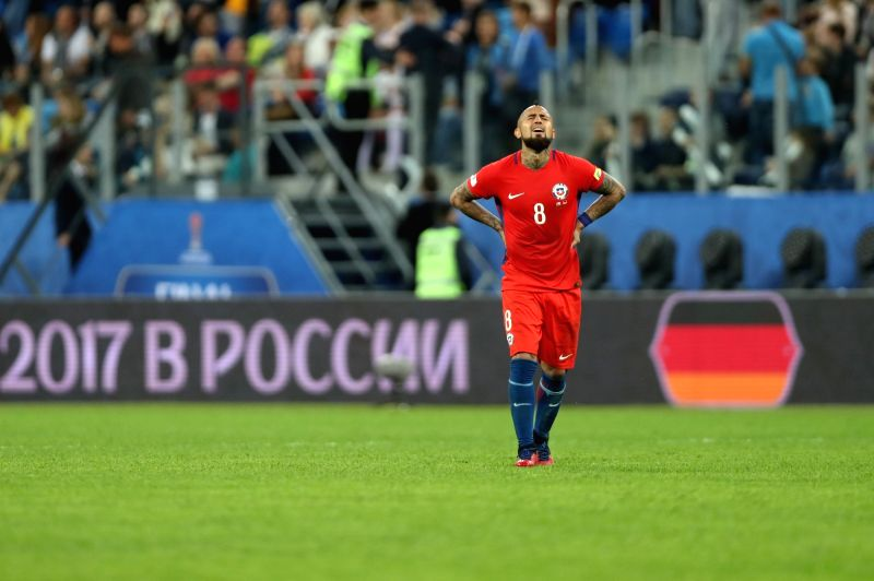 ST. PETERSBURG, July 3, 2017 (Xinhua) -- Arturo Vidal of Chile reacts after losing the final match between Chile and Germany at the 2017 FIFA Confederations Cup in St. Petersburg, Russia, on July 2, 2017. Germany claimed the title by defeating Chile