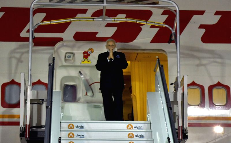 St. Petersburg: Prime Minister Narendra Modi arrives at Orly Airport, Paris on the last leg of his four nation visit, on June 2, 2017. - Narendra Modi