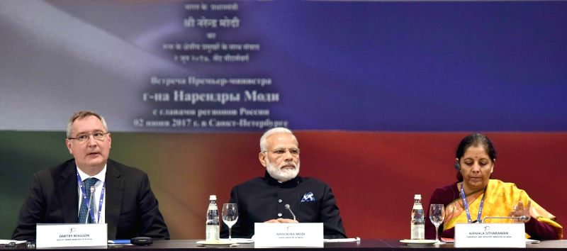 St. Petersburg: Prime Minister Narendra Modi at the first ever collective meeting with the Governors of 16 regions of Russia in St. Petersburg on June 2, 2017. - Narendra Modi