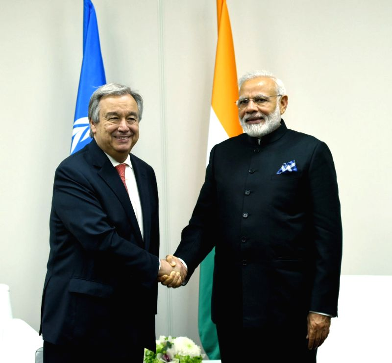 St. Petersburg: Prime Minister Narendra Modi meets United Nations Secretary General Antonio Guterres, on the sidelines of the SPIEF2017, in St. Petersburg, Russia on June 2, 2017. - Narendra Modi