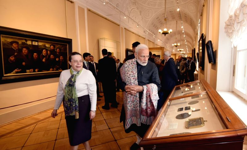 St. Petersburg: Prime Minister Narendra Modi visits the State Hermitage Museum in St. Petersburg, Russia on June 2, 2017. - Narendra Modi