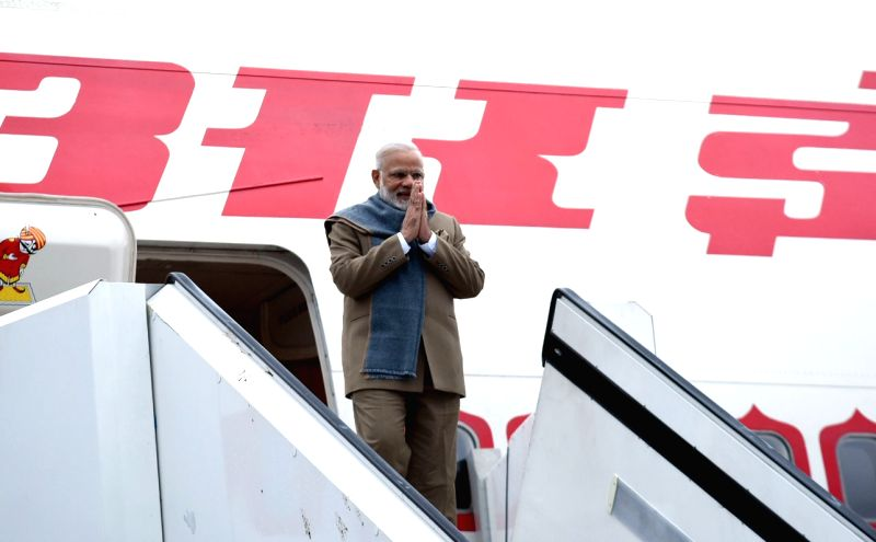St. Petersburg (Russia): Prime Minister Narendra Modi arrives at St. Petersburg, Russia, to attend the 18th India Russia Annual Summit and participate in SPIEF-2017, on May 31, 2017. - Narendra Modi