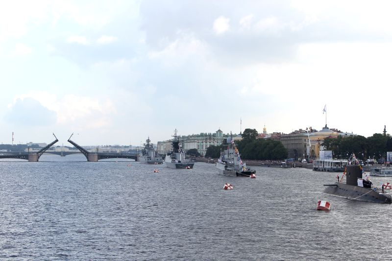 ST.Warships participate in the celebration of the Navy Day on the Neva River in St. Petersburg, Russia, on July 31, 2016. The Navy Day is a national holiday in ...