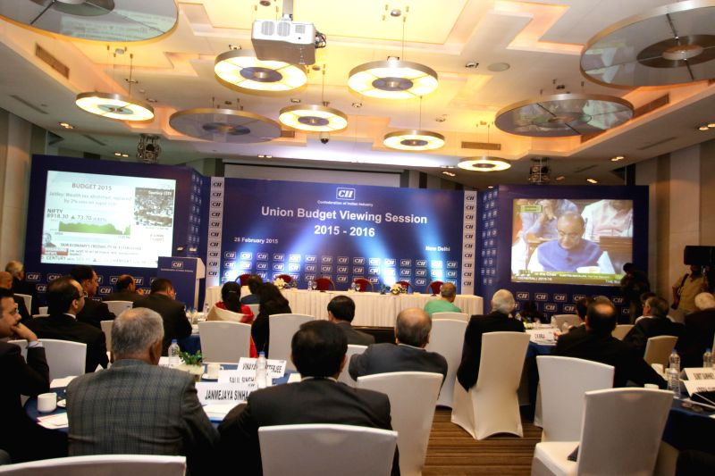 Stakeholders keep a close track of national budget 2015-16 during the `Union Budget Viewing Session 2015-16` organised by CII  in New Delhi, on Feb 28, 2015.