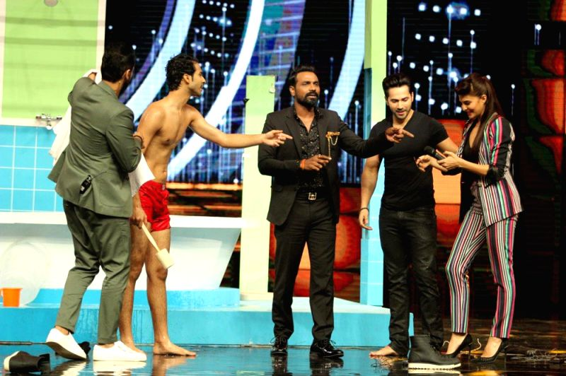 Star cast of film Dishoom Varun Dhawan and Jacqueline Fernandez on sets of reality dance show `Dance +`