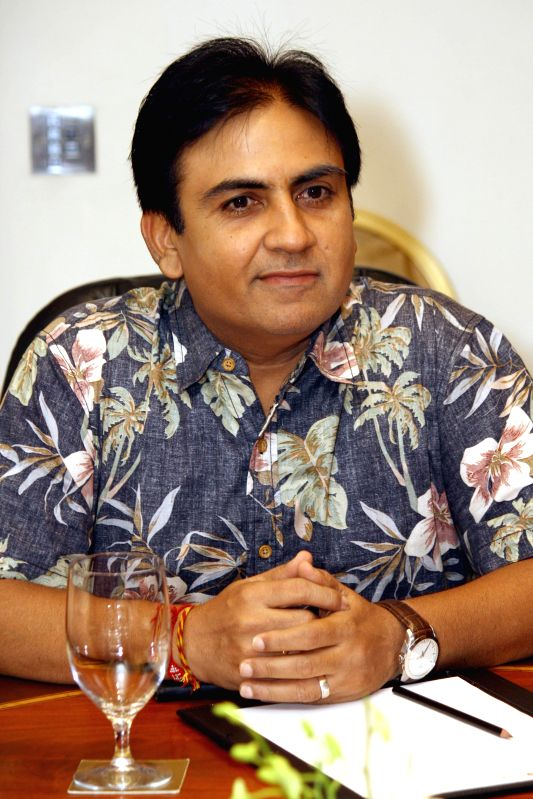Star cast of  TV serial `Tarak Mehta Ka Oolta chasma`, Dilip Joshi at a press meet in New Delhi on June 2014. - Dilip Joshi
