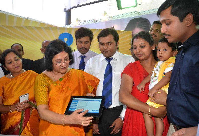 State Bank of India Chairman Arundhati Bhattacharya during the inauguration of 'CREDAI Karnataka State Bank of India Realty Expo and Home Loan Utsav' in Bangalore on April 25, 2014.