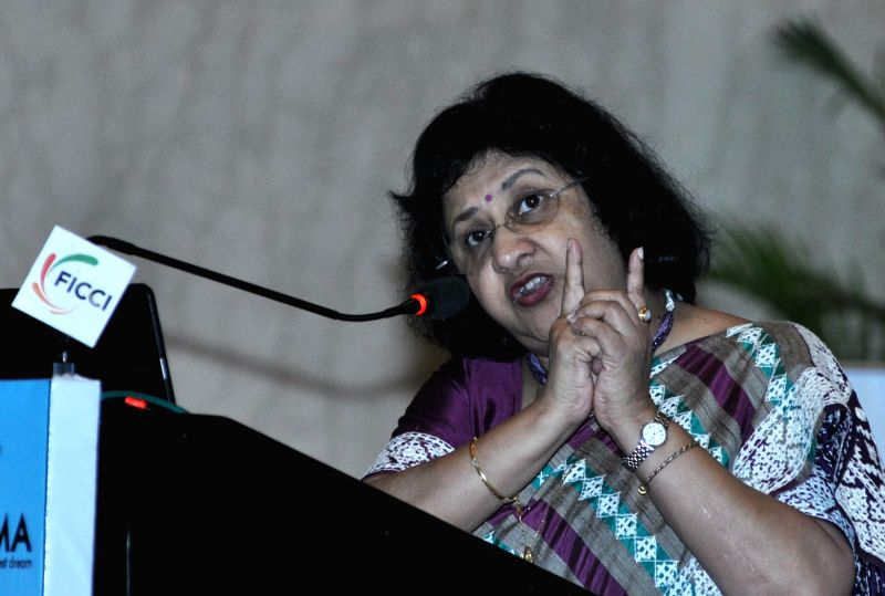 State Bank of India Chairperson Arundhati Bhattacharya addresses during the 13th Banking Conclave in Kolkata, on Aug 3, 2016.