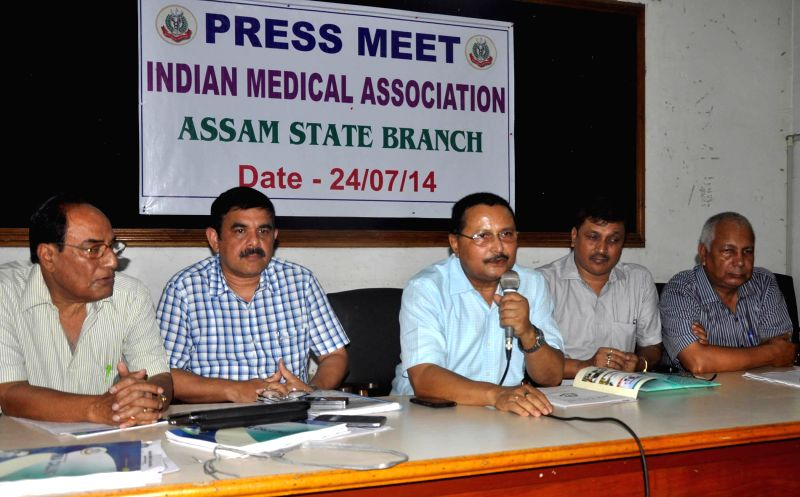 State President of Indian Medical Association, Assam State Branch Manabendra Goswami addressing a press conference at Guwahati press club on July 24, 2014.