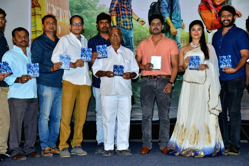 "Stills from audio launch of his upcoming film ""Tharuvatha Evaru "" in Hyderabad."