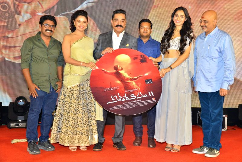 "Stills from audio launch of his upcoming film ""Vishwaroopam 2"" in Hyderabad."