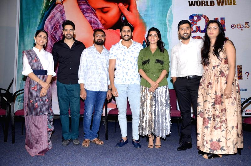 Stills from telugu film 'Chi La Sow' press meet in Hyderabad.