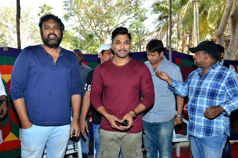 "Stills from Telugu film ""Naa Peru Surya"" Press Meet in Hyderabad."