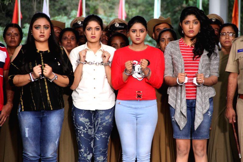 Stills from Telugu film 'Real Dandupalya'in Hyderabad.