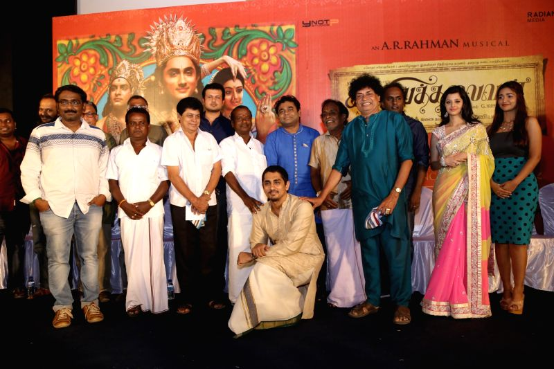 Stills from the press meet of upcoming Tamil film `Kaaviya Thalaivan`.