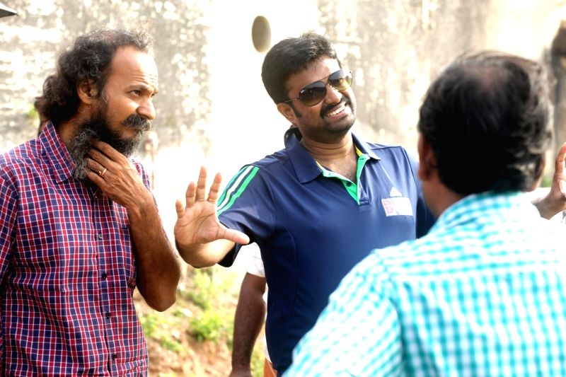 Stills from the sets of upcoming Tamil film Saivam.