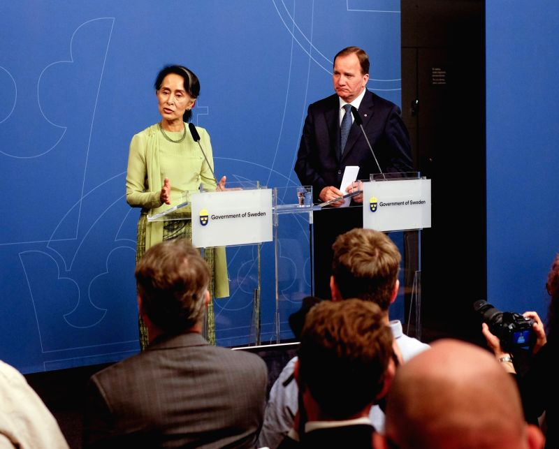 STOCKHOLM, June 12, 2017 - Swedish Prime Minister Stefan Lofven (R) and visiting Myanmar's State Counselor Aung San Suu Kyi attend a press conference at the Rosenbad government office in Stockholm, ... - Stefan Lofven