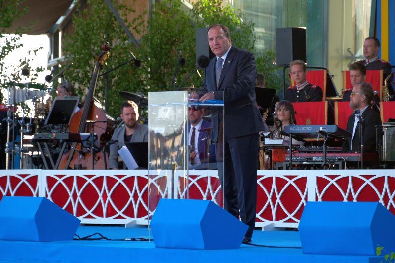 STOCKHOLM, June 6, 2017 - Swedish Prime Minister Stefan Lofven addresses a crowd during a celebration marking Sweden's National Day at Skansen Park in Stockholm, capital of Sweden, on June 6, 2017. ... - Stefan Lofven