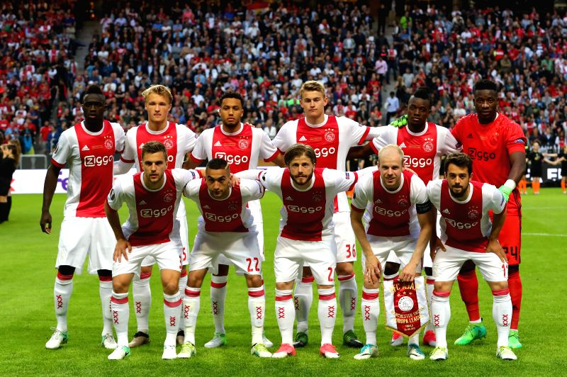 STOCKHOLM, May 25, 2017 - Ajax Amsterdam's starting players pose for photos prior to the UEFA Europa League Final match between Manchester United and Ajax Amsterdam at the Friends Arena in Stockholm, ...