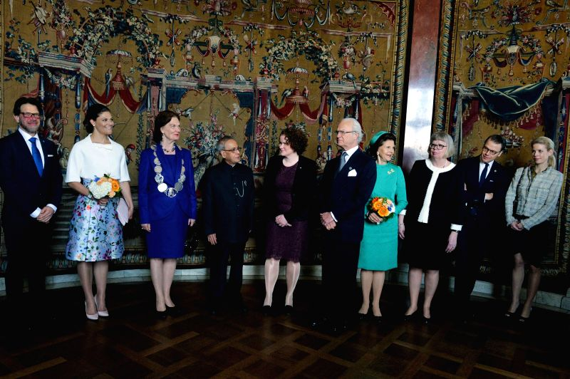 President Pranab Mukherjee at Rosenbad during his state visit of Sweden in Stockholm on June 1, 2015. Also seen Sweden King Carl XVI Gustaf and Queen Silvia, Stockholm Mayor Karin ... - Pranab Mukherjee