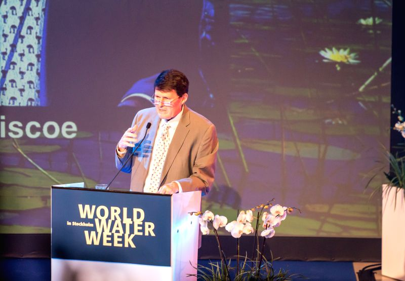 Winner of 2014 Stockholm Water Prize John Briscoe delivers a speech during the opening ceremony of World Water Week in Stockholm, Sweden, Sept. 1, 2014. Global ...