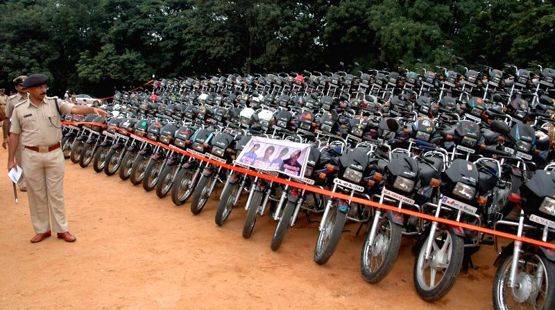 Stolen motorcycles recovered by Bangalore Police kept on display during a property parade in Bangalore on Aug 27, 2014.