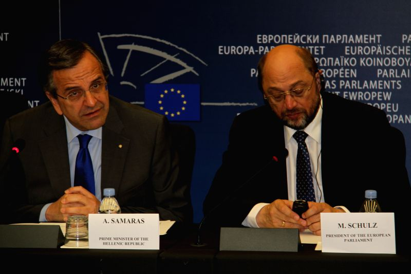 New president of the European Parliament (EP) Martin Schulz (R) and Greek Prime Minister Antonis Samaras hold a joint press conference in Strasbourg, France, July