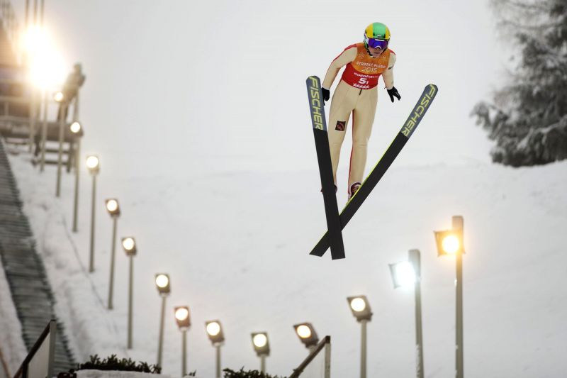 Anastasiya Gladysheva of Russia competes during the ski jumping women's team final at 2015 Winter Universiade in Strbske Pleso, Slovakia, Jan. 29, 2015. ...