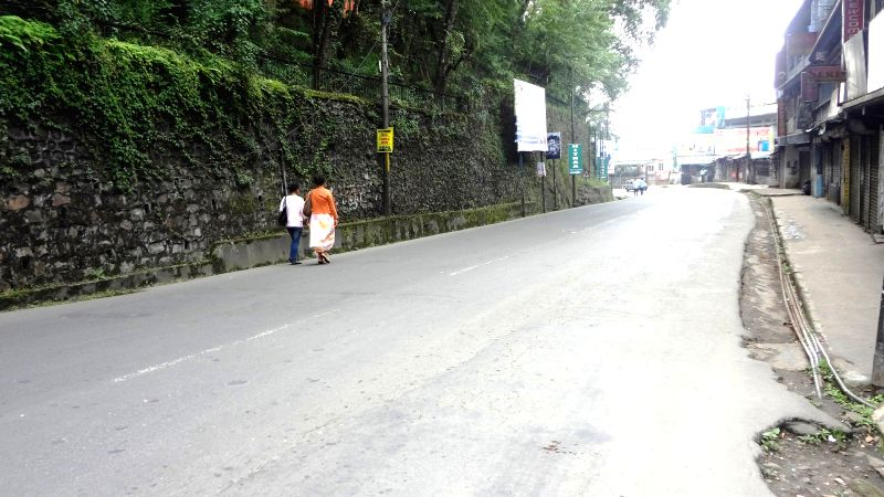 Streets wears a deserted look during a dawn to dusk bandh called by Meghalaya coal miners, owners and dealers under the banner of the of the State Co-ordination Committee of Coal Owners, Miners and ..