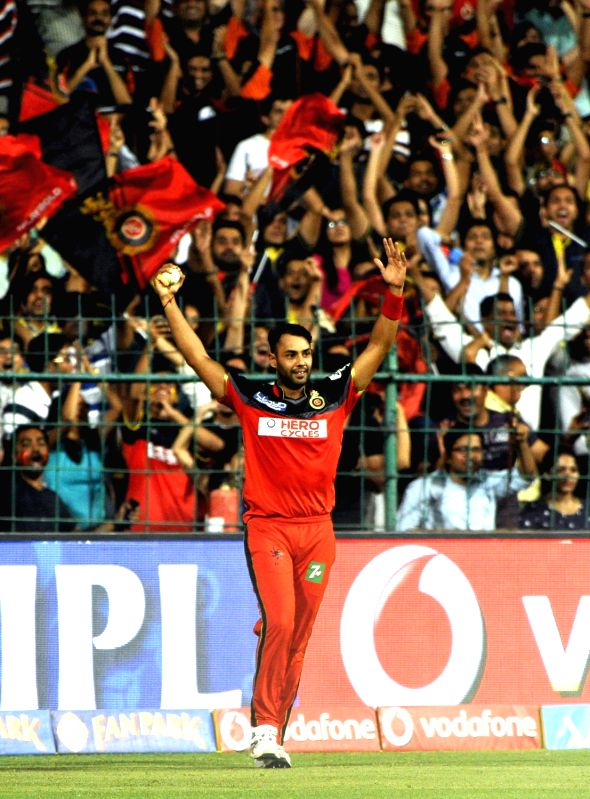 Stuart Binny of Royal Challengers Bangalore celebrates fall of a wicket during an IPL match between Royal Challengers Bangalore and Mumbai Indians at M Chinnaswamy Stadium in Bengaluru, on ...