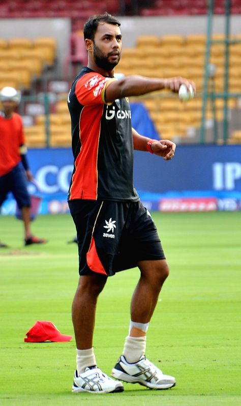 Stuart Binny of Royal Challengers Bangalore during a practice session at Chinnaswamy Stadium in Bengaluru on April 26, 2017.