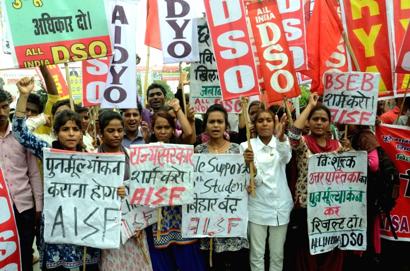 Students affiliated to Leftist student organisations stage a demonstration to press for their demands in Patna on June 8, 2017.