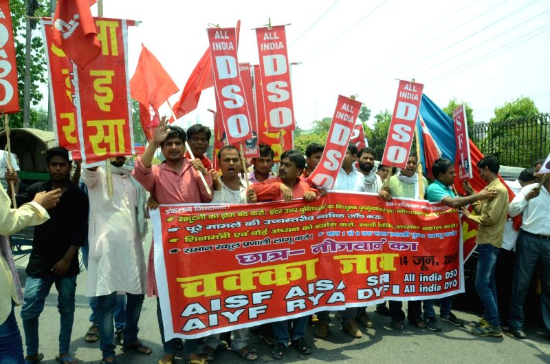 Students affiliated to Leftist student organisations stage a demonstration to press for their demands in Patna on June 14, 2017.