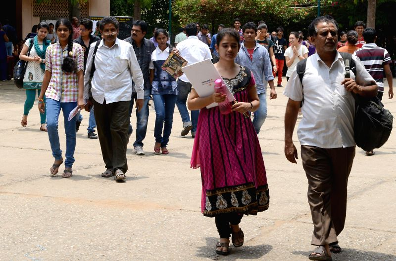 Students appearing for COMEDK exams at their exam centre in Bangalore on May 11, 2014.
