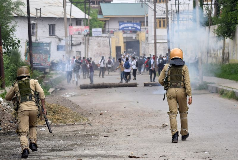 Students clash with security personnel during a protest in Srinagar on May 16, 2017.