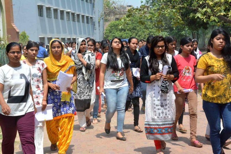 Students come out after appearing for National Eligibility and Entrance Test in Patna, on May 7, 2017.