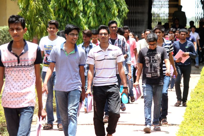 Students come out after appearing in the Joint Entrance Examination (JEE) 2016 at a Nagpur College on May 22, 2016.