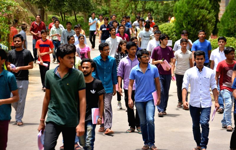Students come out of an exam centre after appearing in Joint Entrance Examination (Advanced) 2017 in Jaipur, on May 21, 2017.