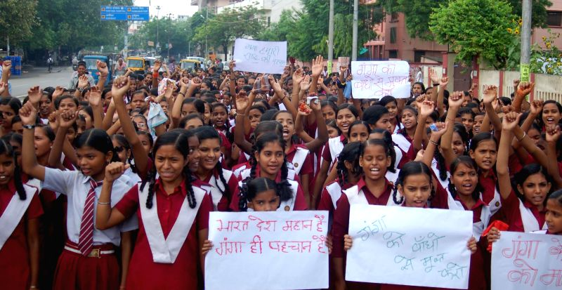 Students demonstrate to demand a pollution free and clean Ganga in Varanasi on July 17, 2014.