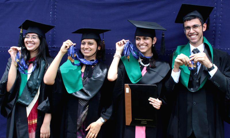 Students during 22nd Annual Convocation of National Law School of India in Bangalore on Aug 31, 2014.