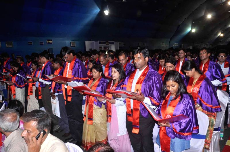 Students during 60th annual Convocation of IIT Kharagpur at West Medinipur in West Bengal on July 26,2014.