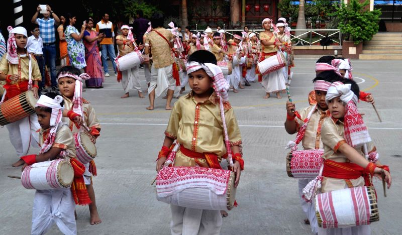 Students during a Bihu workshop at their school premises in Guwahati on May 6, 2014.