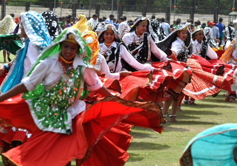 Students during full dress rehearsal  for Independence day functions in Gurgaon on Aug 13, 2014.